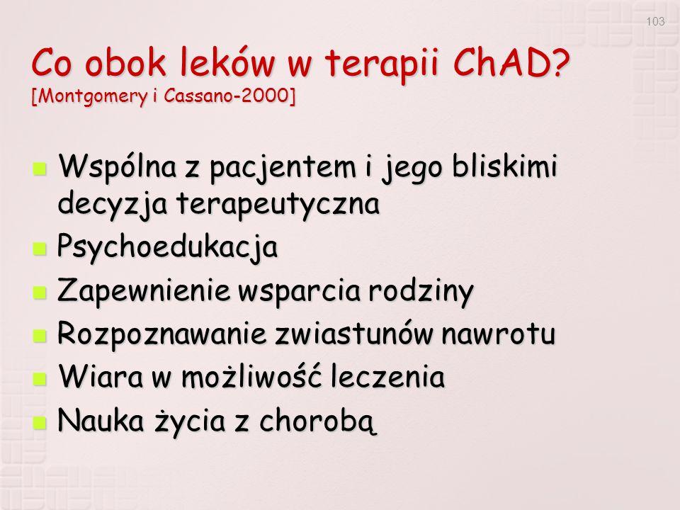 Co obok leków w terapii ChAD [Montgomery i Cassano-2000]